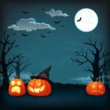 Halloween night vector poster. Orange pumpkins with different expressions. royalty free illustration