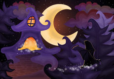 Halloween night wallpaper with haunted house Stock Photos