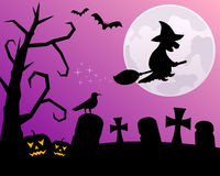 Halloween Night with Witch. Halloween night scene with the moon and the silhouette of a witch flying over a spooky graveyard. Eps file available Royalty Free Stock Image
