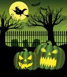 Halloween night witch graveyard Stock Photos