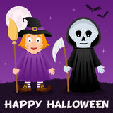 Halloween Night - Witch & Grim Reaper. Happy Halloween night card with a cute witch with broom, Grim Reaper, full moon and bats flying on a dark sky Stock Photos