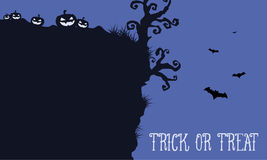 Halloween night withn pumpkin and bat landscape Stock Photography