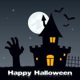 Halloween Night - Zombie Hand & House Stock Image