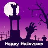 Halloween Night - Zombie Hand & Tombs Royalty Free Stock Photos