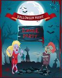Halloween Night Zombie Party Vector Illustration. Halloween night, zombie party poster representing undead people, full moon and graveyard, spiders and cobwebs stock illustration