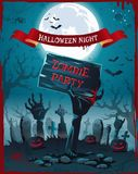 Halloween Night and Zombie Party Spooky Poster Royalty Free Stock Images