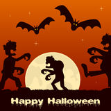 Halloween Night with Zombies and Full Moon Royalty Free Stock Photos