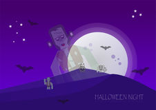 Halloween night with zombies, skeleton, frankenstein and bats in. Full moon time. Vector Design Royalty Free Stock Photo