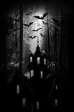 Halloween. Noc. Księżyc kasztel i nietoperze. ilustracja wektor