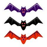 Halloween noircissent, rouge, pourpre, pilotant l'ensemble d'icône de batte Vecteur plat de conception Photos libres de droits