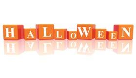 Halloween nos cubos 3d Imagens de Stock