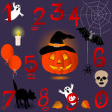 Halloween numbers. Set of numbers with Halloween icons Stock Images