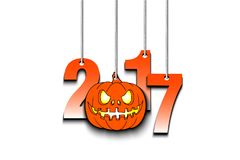 Halloween numbers 2017 and pumpkin hanging on a ropes. Vector illustration Stock Photos