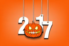 Halloween numbers 2017 and pumpkin hanging on a ropes. Vector illustration Royalty Free Stock Photos