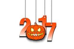 Halloween-nummer 2017 en pompoen die op kabels hangen royalty-vrije illustratie