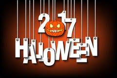 Halloween-nummer 2017 en pompoen die op kabels hangen vector illustratie