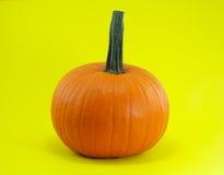 Halloween o calabaza anaranjada de la acción de gracias en fondo amarillo Imágenes de archivo libres de regalías
