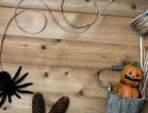 Halloween-objecten concept met houten achtergrond Stock Fotografie