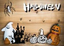 Halloween-objecten concept met houten achtergrond Halloween Pumpki stock foto's