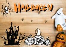Halloween-objecten concept met houten achtergrond Halloween Pumpki royalty-vrije stock foto