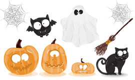 Halloween objects. Icons for Halloween with pumpkins ghost broom bat cobwebs and cat Stock Photography