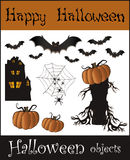 Halloween objects - bat pumpkin spider web house t Stock Photo