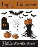 Halloween objects - bat pumpkin spider web house t vector illustration