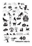 40 Halloween objects Royalty Free Stock Image