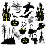 Halloween objects isolated on white background. Royalty Free Stock Image