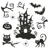 Halloween objects set. On white background. Collection of branches and elements for Halloween party invitation design Royalty Free Stock Photo
