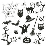 Halloween objects set. On white background. Collection of branches and elements for Halloween party invitation design Stock Photos