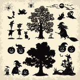 Halloween objects and subjects set silhouette Stock Photo