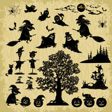Halloween Objects and Subjects Silhouettes Stock Photography