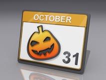 Halloween October 31. A Calendar with showing October 31 and a jack o lantern Stock Photos