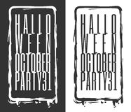 Halloween October party 31. Halloween banner set. Design word - Halloween October party 31, in a vertical brush frame. In black and white. Typographic design Royalty Free Stock Photo