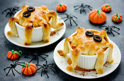 Halloween octopus pot pie. Tentacle pot pies. Portion pot pies w Royalty Free Stock Images