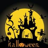 Halloween od tła blasku księżyca uwagi Nietoperz, czarownica, kasztel, cmentarz sylwetka również zwrócić corel ilustracji wektora Zdjęcie Royalty Free
