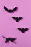 Halloween od tła blasku księżyca uwagi Papercut kot i nietoperze Odgórny widok z kopii przestrzenią Fotografia Stock