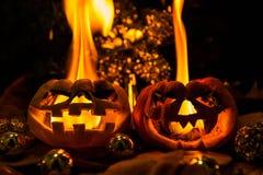 Halloween - old jack-o-lantern on black background Royalty Free Stock Image