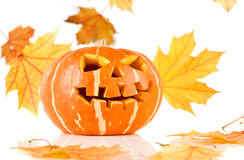 Halloween, old jack-o-lantern on white Royalty Free Stock Images