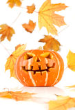 Halloween, old jack-o-lantern on white Royalty Free Stock Image
