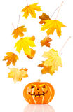 Halloween, old jack-o-lantern on white Stock Photography