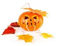 Halloween, old jack-o-lantern on white Stock Photos