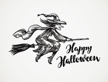 Halloween. Old wicked witch flying on broomstick sketch. Vector illustration Royalty Free Stock Photography