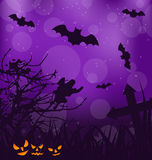 Halloween ominous background with pumpkins, bats,  Royalty Free Stock Photo