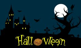 Halloween. Ominous castle, tree, birds and crosses under the full moon. stock illustration