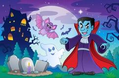 Halloween-onderwerpscène 4 stock illustratie