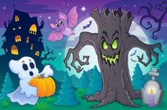 Halloween-onderwerpscène 6 royalty-vrije illustratie