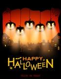 Halloween-Ontwerppompoenen met Licht van Ogen op Stadsachtergrond vector illustratie