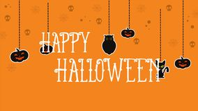 Halloween on orange background cute animation. Collection stock video footage